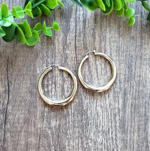 Vintage Thick Gold Hoop Earrings